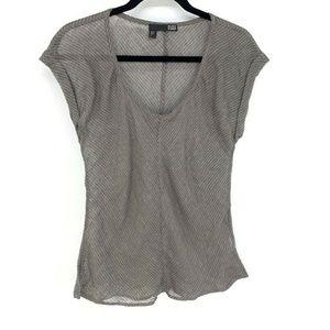 Eileen Fisher Stripe Linen Lightweight Sheer Top
